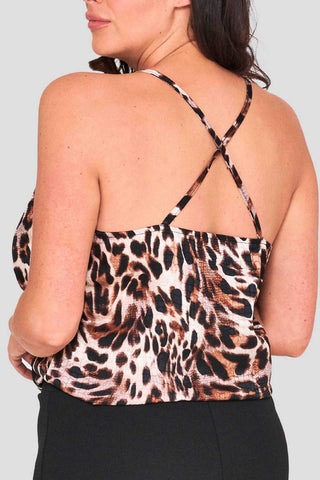 Cheetah Cowl Front Cami Top