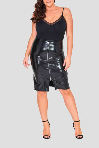 pvc skirt curves curvy stylish shiny skirt knee length