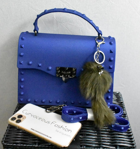 Big Studded Messenger Bag - Navy Blue