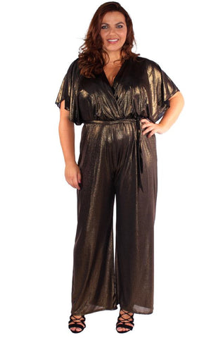 Jenna Front Gold Wrap Jumpsuit
