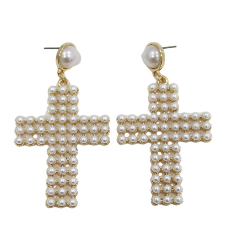 curvaceous fashion earrings cross pearl earrings