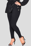 comfort leggings black button detail casual wear soft stylish