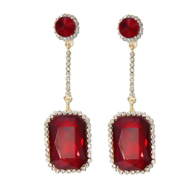 Rectangle Drop Gem Earrings curvaceous fashion ltd earrings gems