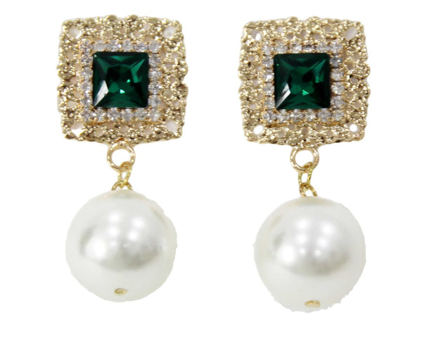 curvaceous fashion pearl earrings emerald studs pearl earrings diamanté