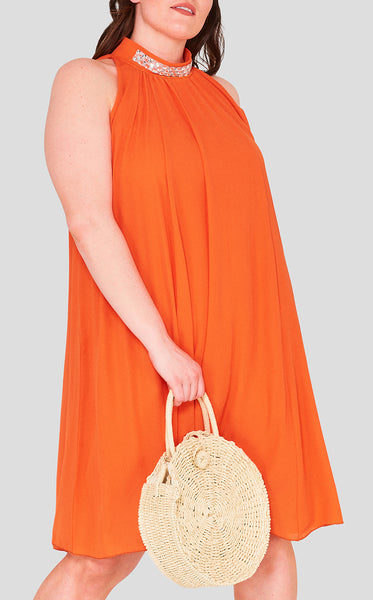 sun kissed swing plus sized dress burnt orange hot season color