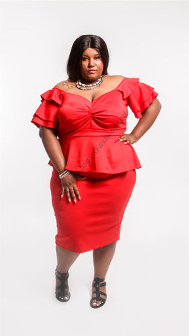 red apple peplum dress curves plus size