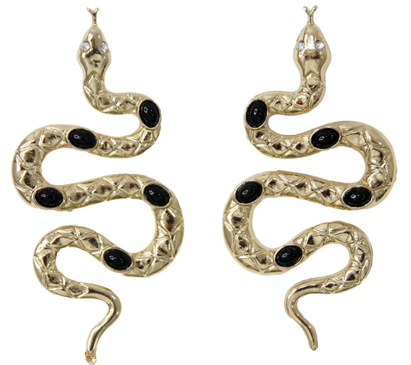 Black & Gold Diamante Earrings