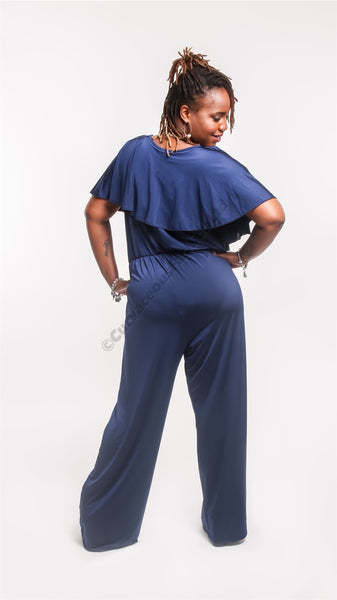 Deep Blue Open Shoulder Jumpsuit