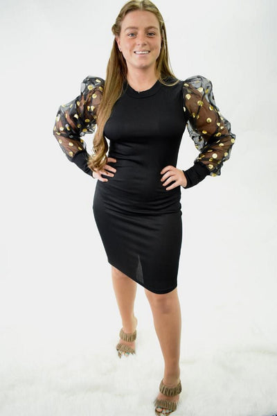 Polka Dot Balloon sleeve Bodycon Sweater Dresses curvaceous fashion curves curvy dress