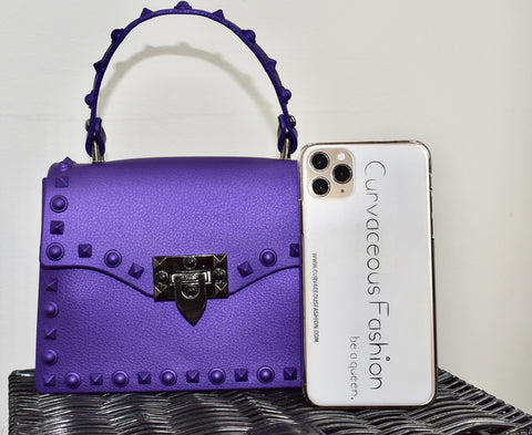 Small Studded Messenger Bag - Purple