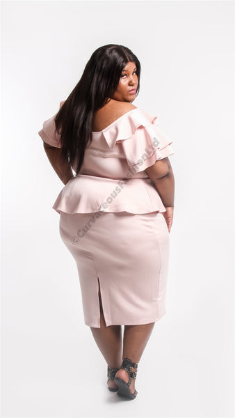 pink peplum dress elegant dress calf length fashion frill sleeves  curves curvy