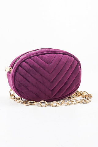 Velvet Oval Quilted Belt Bags