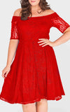 red lace bardot style dress mid length created for curves curvaceous fashion lace swing style dress evenings dress dinner dress