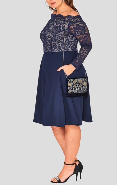 curvaceous fashion sapphire curvy dress off shoulder lace royal blue dress flows ideal to hide the tummy