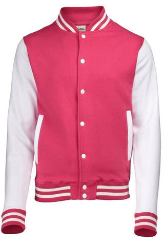 Hot Pink / White Varsity Jacket
