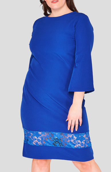 Melinda Lace Hem Dress curvaceous fashion curvy curves plus size hem dress lace detail blue dress blue work dress wedding blue dress