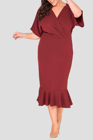 long ruffle dress elegant curves stylish high fashion evening wear comfort curves