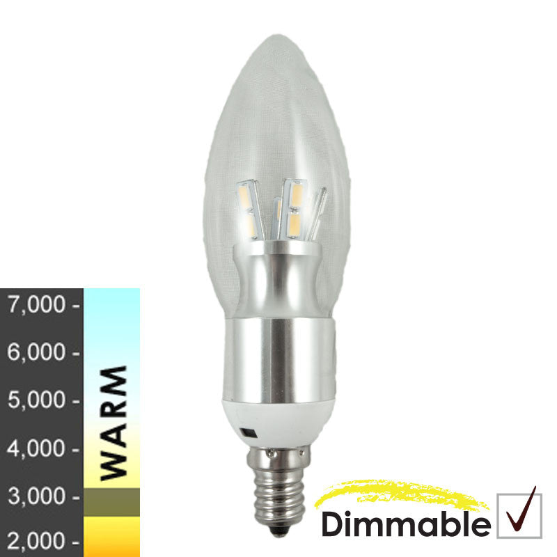 "60W Equivalent - 7W ""Joshua Series"" Round-top Clear Silver Base LED Candelabra- 6 Pack"