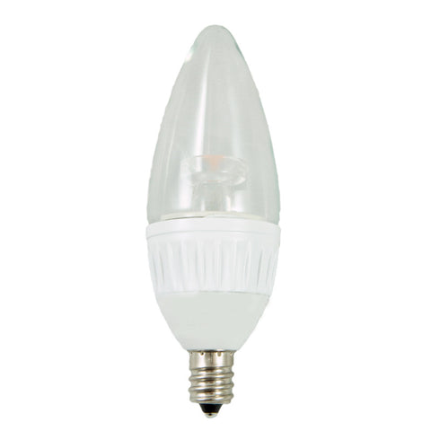 "40W Equivalent -  ""Kepler G3 Series"" LED Candelabra - Dimmable  - White Base - Round Top- 6 Pack"