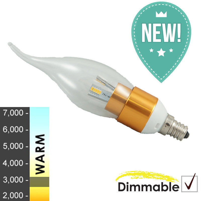 "40W Equivalent - ""Gen. 3 Dew Drop Series"" Dimmable Gold- Clear - Flame Top"