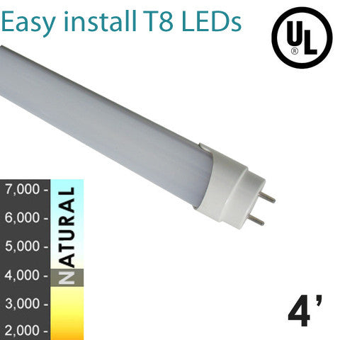 "45W Florescent Equivalent - 18 Watt ""Easy Install Series"" LED 4 ft LED T8 Tube - ballast compatible - Natural White- Frosted Cover- 12 Pack"