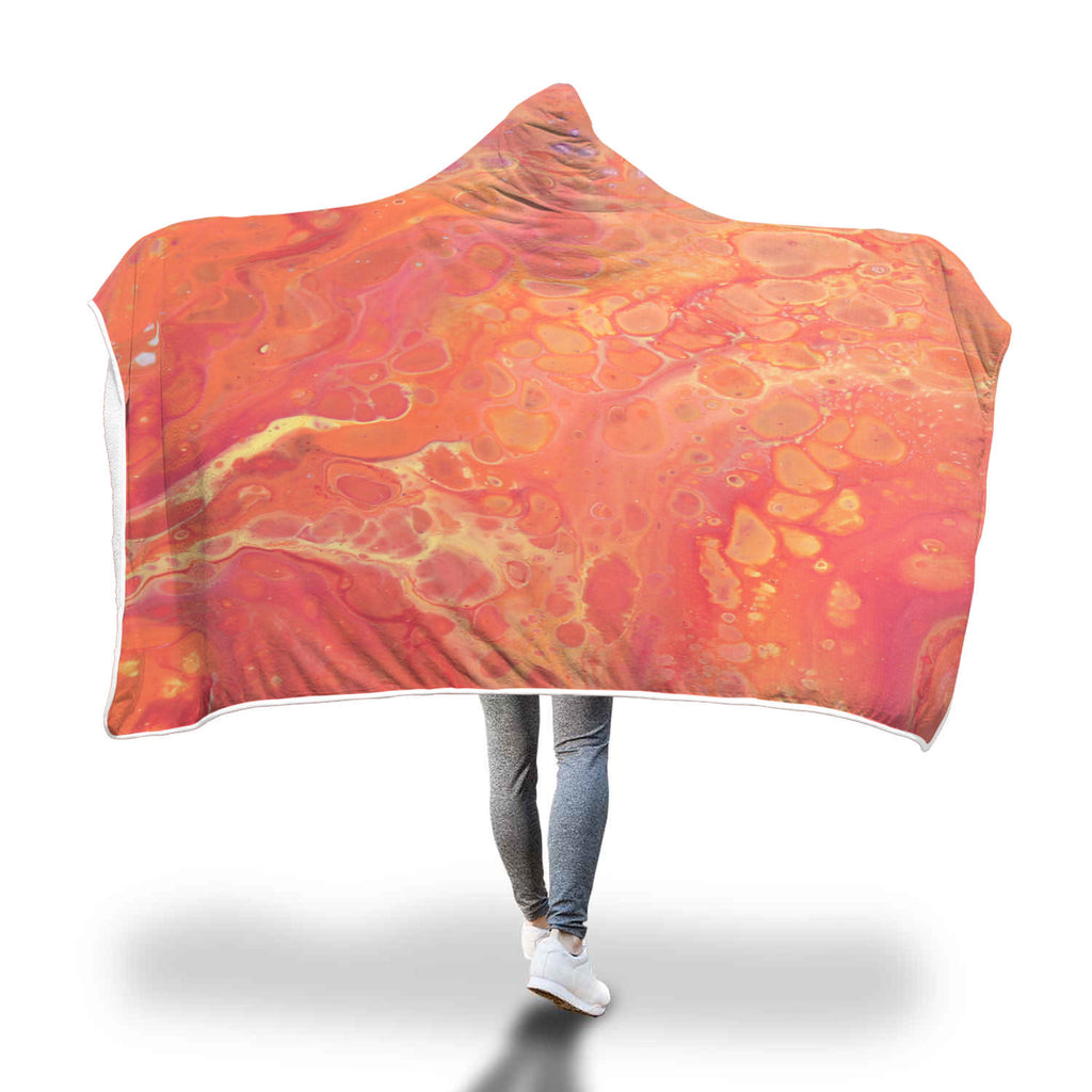 Orange Sunset Hooded Blanket