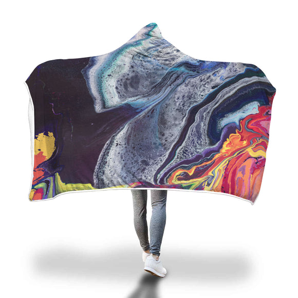 Lava Meets Water Hooded Blanket