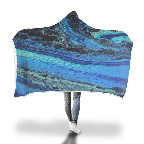 Blue Tracks Hooded Blanket
