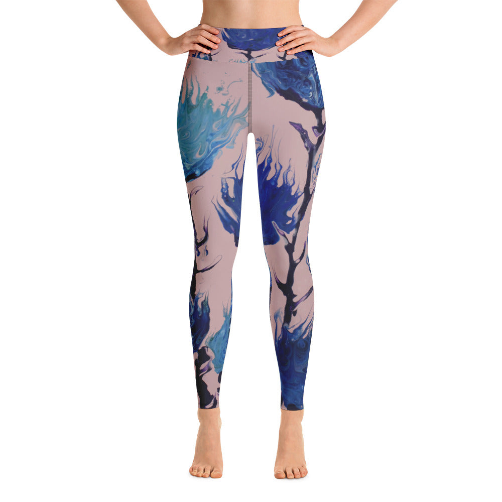 Blue Flowers Yoga Leggings