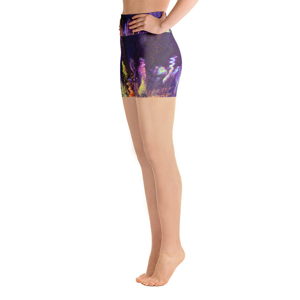 Purple Fantasy Yoga Shorts