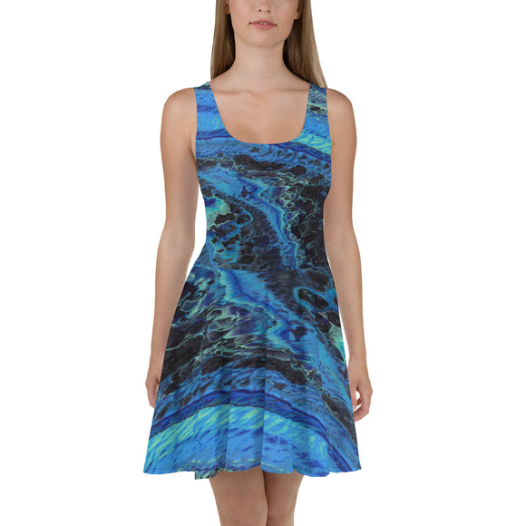 Blue Tracks Skater Dress