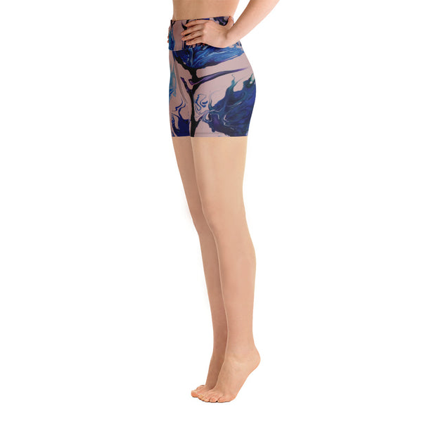 Blue Flower Yoga Shorts