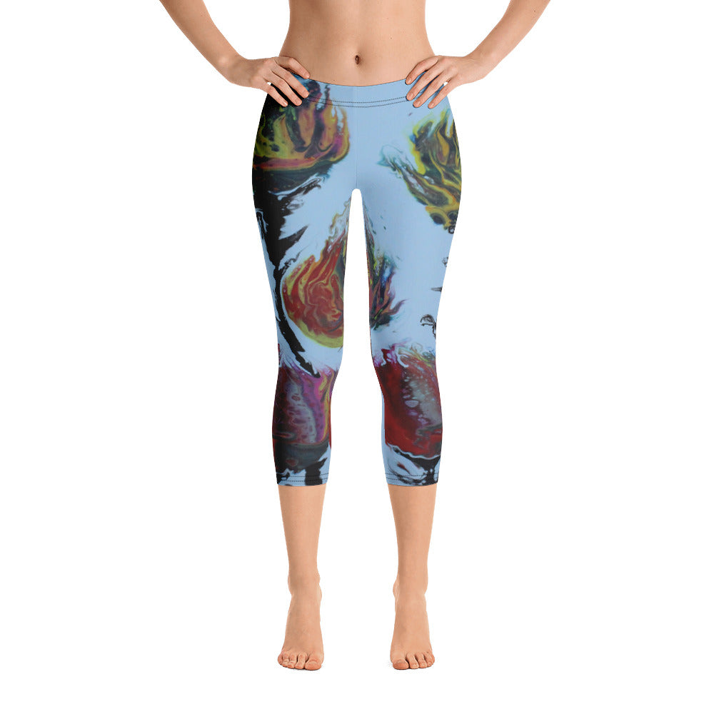 Blue Flowers Capri Leggings