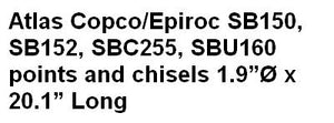 Atlas Copco/Epiroc SB150, SB152, SBC255, SBU160   points and chisels