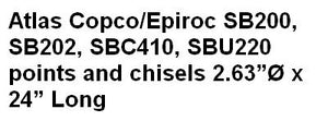 Atlas Copco/Epiroc SB200, SB202, SBC410, SBU220 points and chisels
