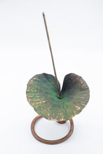 Load image into Gallery viewer, Handmade Recycled Copper Lotus Leaf on Stand Incense Holder