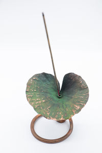 Handmade Recycled Copper Lotus Leaf on Stand Incense Holder