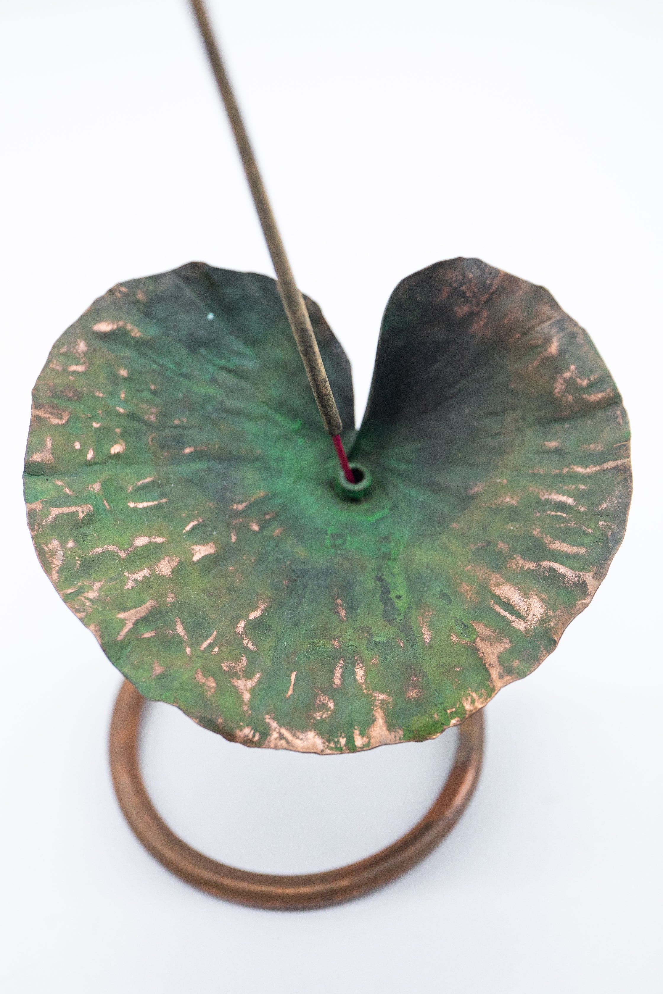 Incense Holder - Handmade Recycled Copper Lotus Leaf on Stand