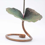 Load image into Gallery viewer, Incense Holder - Handmade Recycled Copper Lotus Leaf on Stand