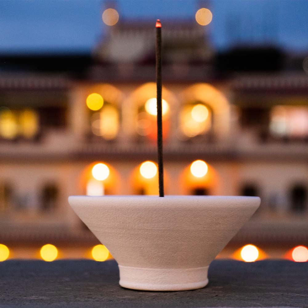 Incense Holder - Handmade White Ceramic with Pebble