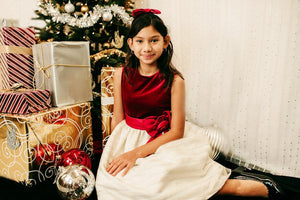 little girl Velvet Christmas dress in red and white or ivory