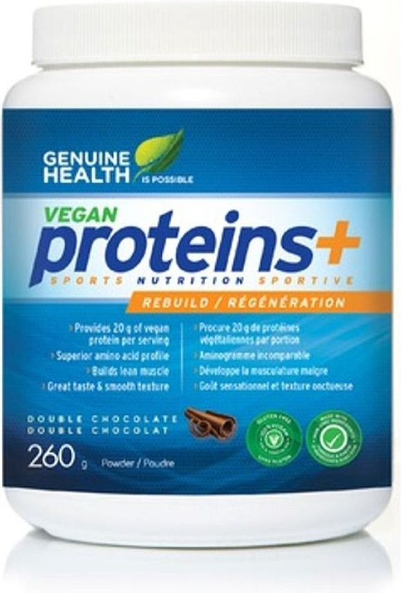 GENUINE HEALTH Vegan Proteins+ (Double Chocolate - 260 Gr)
