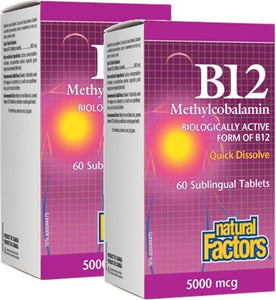 NATURAL FACTORS Vitamin B12 (5000 mcg - 60  sub tabs) 2-Pack