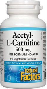 NATURAL FACTORS Acetyl - L - Carnitine (500mg - 60 veg caps)