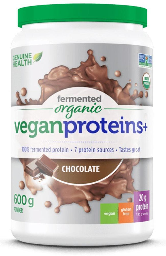 GENUINE HEALTH Fermented Organic Vegan Protein (Chocolate - 600 g)