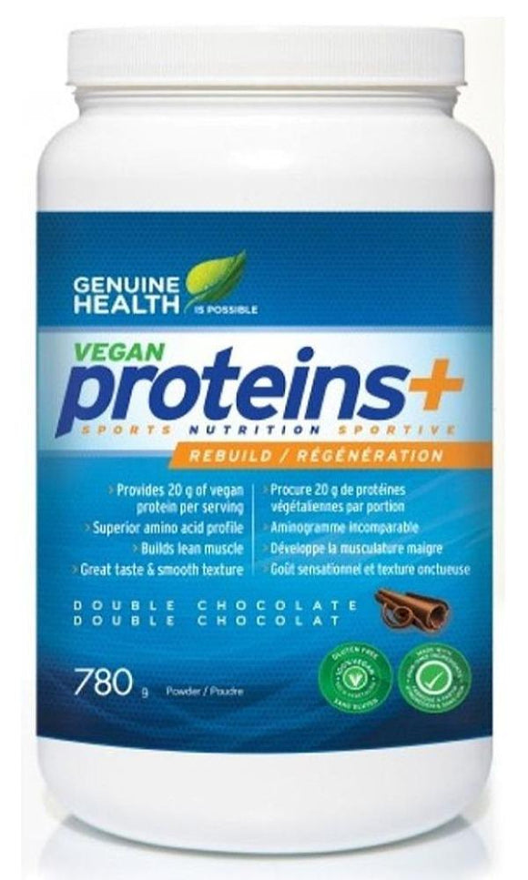 GENUINE HEALTH Vegan Proteins+ (Double Chocolate - 780 Gr)