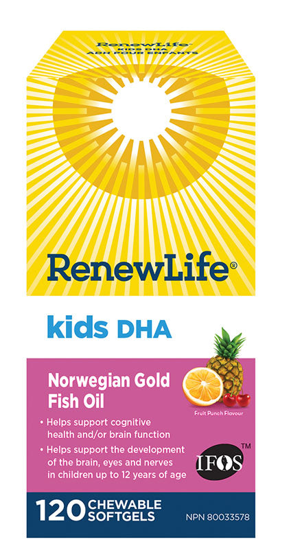 RENEW LIFE Kids DHA Norweigan Gold (120 Chewable Softgels)
