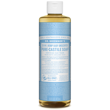 Dr. Bronner's Organic Pure Castile Liquid Soap - Baby Unscented - 473ml