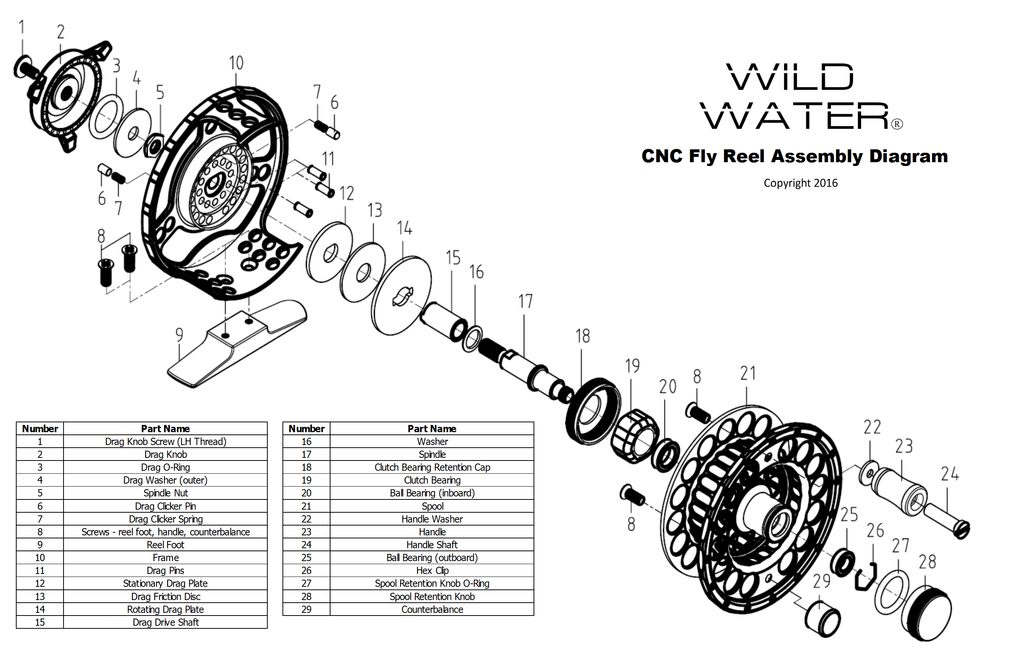 Wild Water Fly Fishing Fortis CNC fly reel assembly diagram