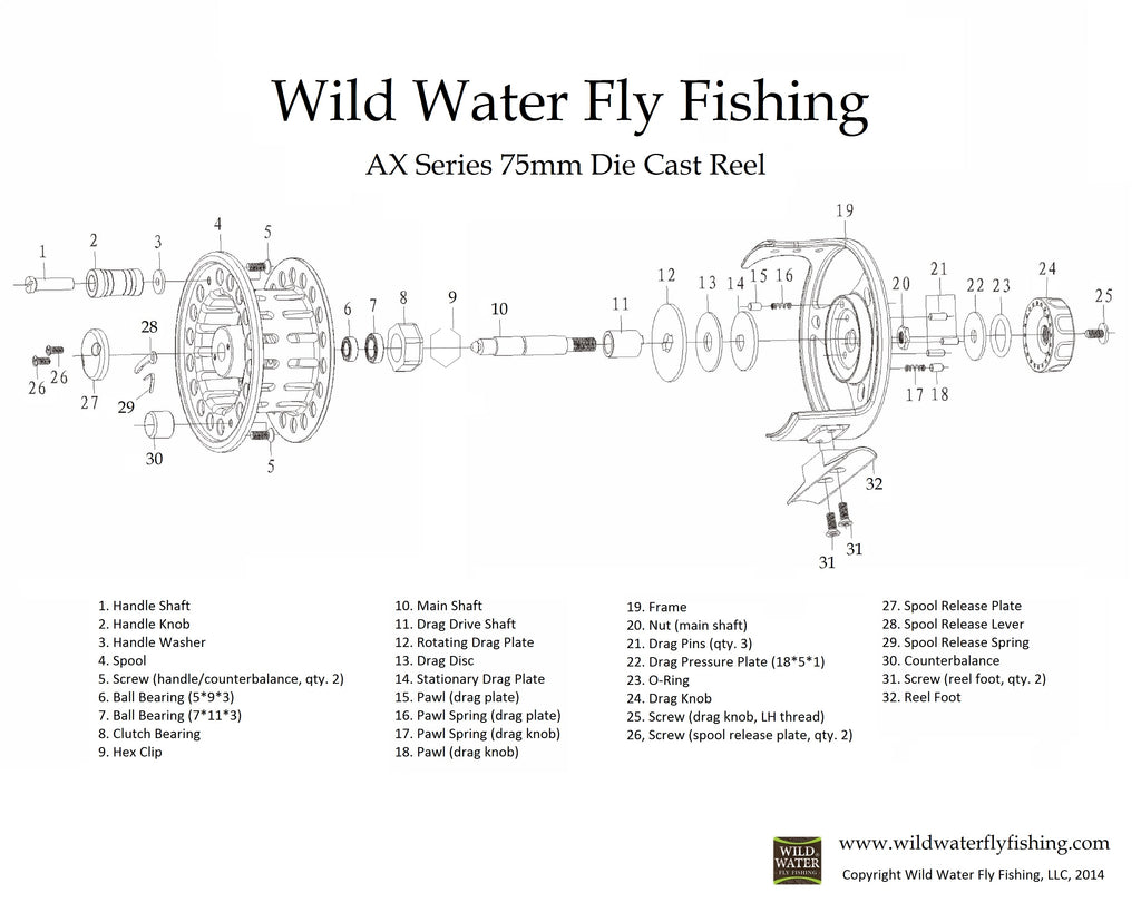 Wild Water Fly Fishing AX series dies cast fly reel assembly diagram